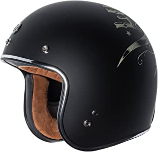 TORC T50 Route 66 3/4 Helmet with 'Lucky 13 Bullhead' Graphic (Flat Black, X-Large)
