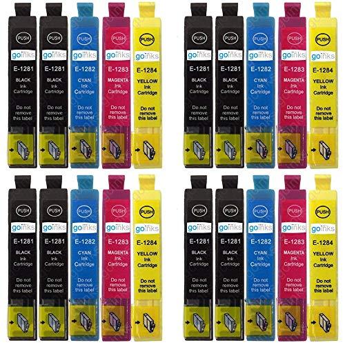 4 Go Inks Set di 4 Cartucce d'inchiostro in più Nero per sostituire Epson T1285+1281 Compatibile/non originale per Stampanti Epson Stylus Office (20 Inchiostri)