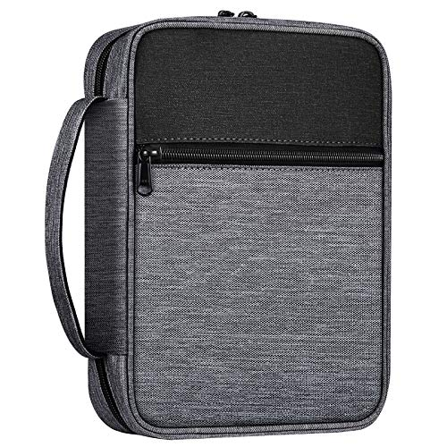 FINPAC Bible Cover, Carrying Book Case Church Bag Bible Protective with Handle and Zippered Pocket, Perfect Gift for Men Women Father Kids (Gray)