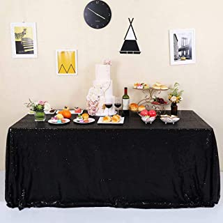 GFCC Black Sequin Tablecloth Glitter Party Wedding Banquets 60x120 Rectangle Table Cover Sparkle Cake Table Cloth Linen