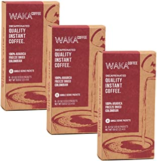 Waka Coffee Quality Decaffeinated Instant Coffee, Colombian, Medium Roast | 100% Arabica, Freeze Dried, 3 Box Value Package | Add Water, Give Water