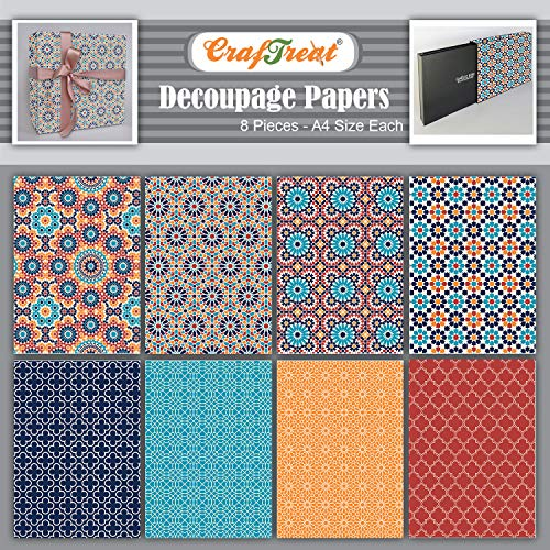 CrafTreat Decorative Decoupage Paper for Crafts -Mosaic I and II - Size: A4-8 Pcs - Decoupage Paper for Furniture, Wood and Scrapbooking