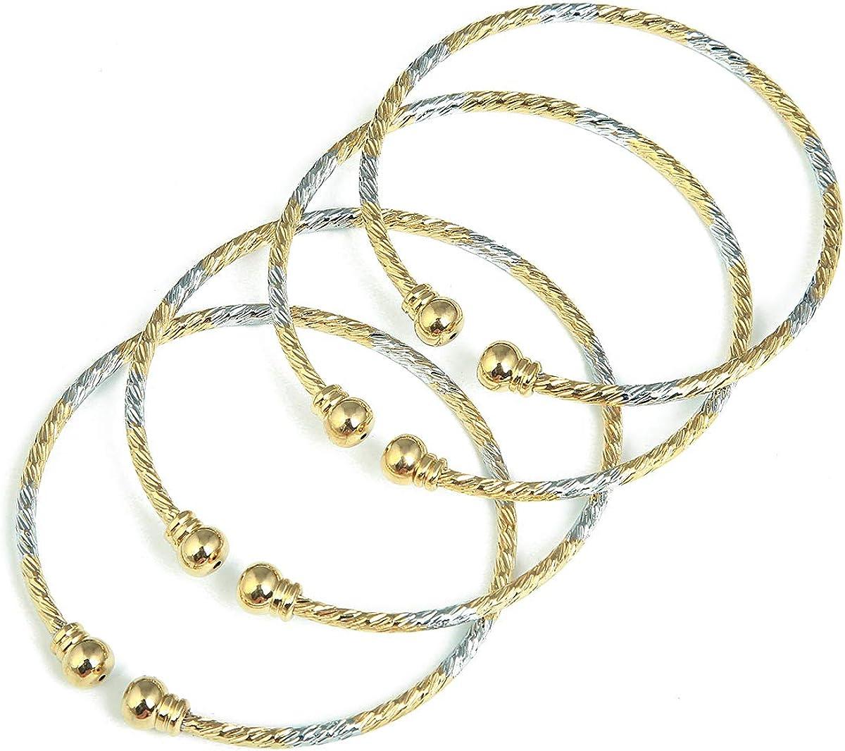 Brass 4pcs Openable Bangle Bracelet Arab Ethiopian Bangle Gold Color Dubai Africa Jewelry Gift
