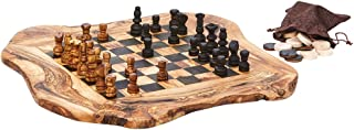 Arte Legno Real Olive Wood Chess and Checkers Set - Rough Cut - 15