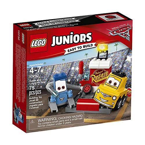 LEGO- Juniors Pit Stop di Guido E Luigi Costruzioni Piccole Gioco Bambina, Multicolore, 10732