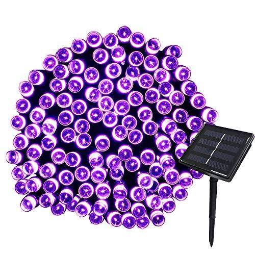 Tuokay Solar Lichterkette Außen, 22m 200 LED 8 Modi Wasserdicht LED Außenlichterkette, Dekorative Beleuchtung für Garten Balkon Pavillon Terrasse Rasen Hof Zaun Hochzeit Fest Deko (Lila, 1 Stück)