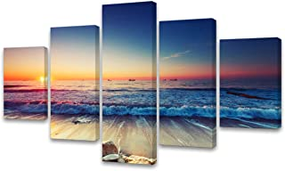 Cao Gen Decor Art-AS40110 5 Panels Framed Wall Art Blue Ocean Sea Canvas Prints Seaview Pictures Painting Modern Seascape Artwork Bedroom Wall Decorations Office Works Home Decoration
