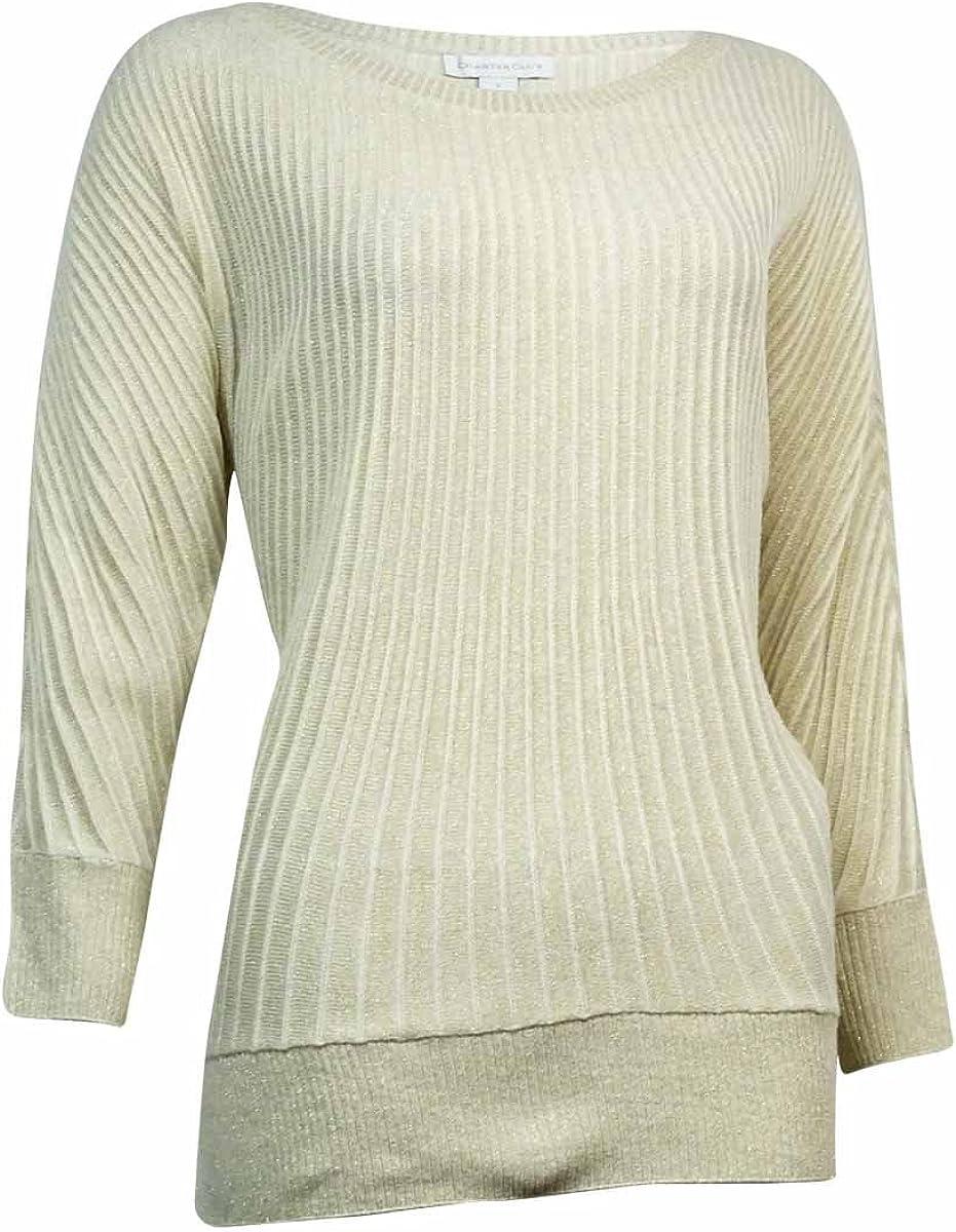 Charter Club Women's Metallic Ribbed Dolman Sweater