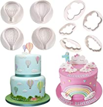 Fewo Set of 9 Hot Air Balloons Cloud Plastic Fondant Cutting Mold Grass Sheep Biscuits Gum Paste Sugar Craft Cookie Cutter Baby Shower Party Cake Cupcake Decorating Tools