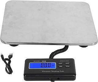Báscula electrónica de plataforma de 200 kg, báscula de envío de paquetes postales de acero inoxidable para pesaje de oficina de banco de piso