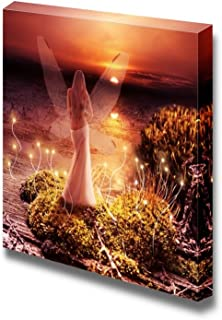 Fairy with Transparent Wings Standing on Green Island in Lake and Watching The Sunset - Canvas Art Wall Decor - 24