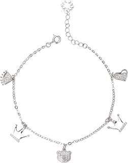 Peora Rhodium Plated Silver Princess Crown Charm Bracelet for Women Girls Fancy