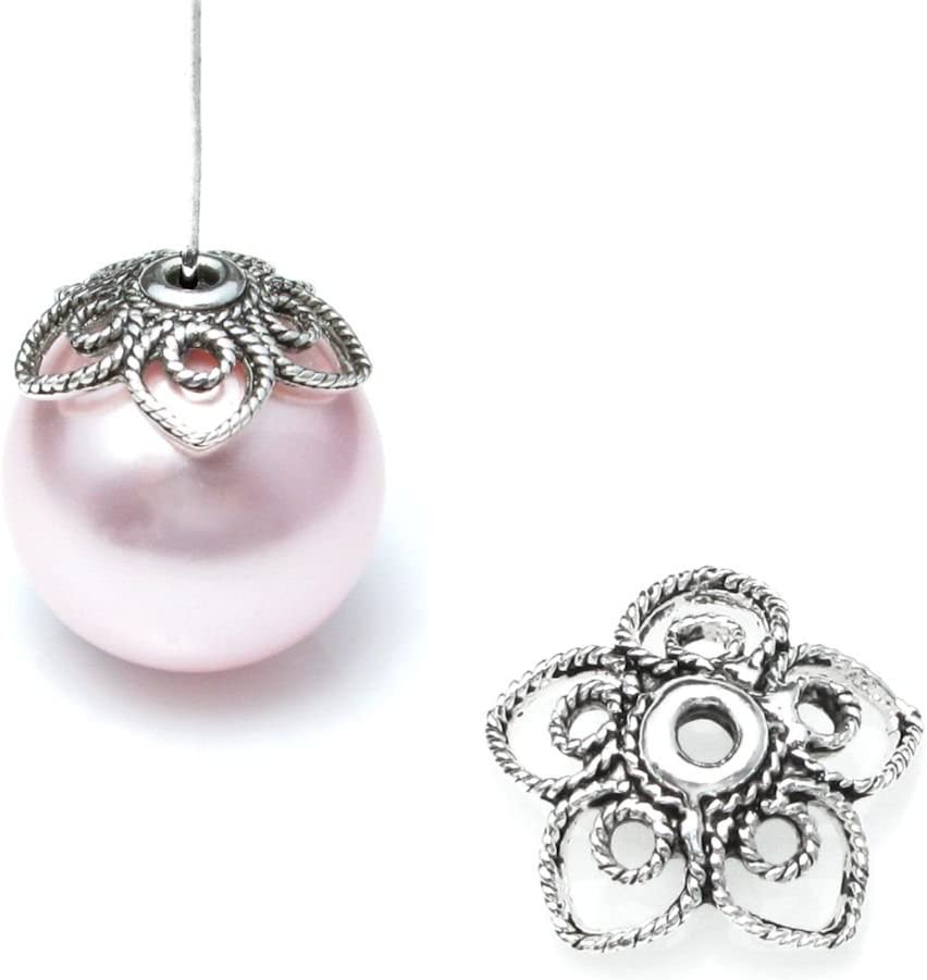 2 Ultra-Cheap Deals pcs Bali 925 Fort Worth Mall Sterling Silver Pearl Spring 11mm Flower Filigree