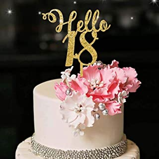 YUINYO Hello 18th Birthday Cake Topper Gold Happy18th Birthday Party Decoration Supplies Calligraphy Bling Cake Decoration...