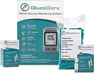 GlucoGorx® Blood Glucose Testing Kit - 110 Blood Test Strips, 125 Sterile Lancets, Glucometer, Depth Controlled Lancing Device, Control Solution, User Manual & Convenient Carrying Case