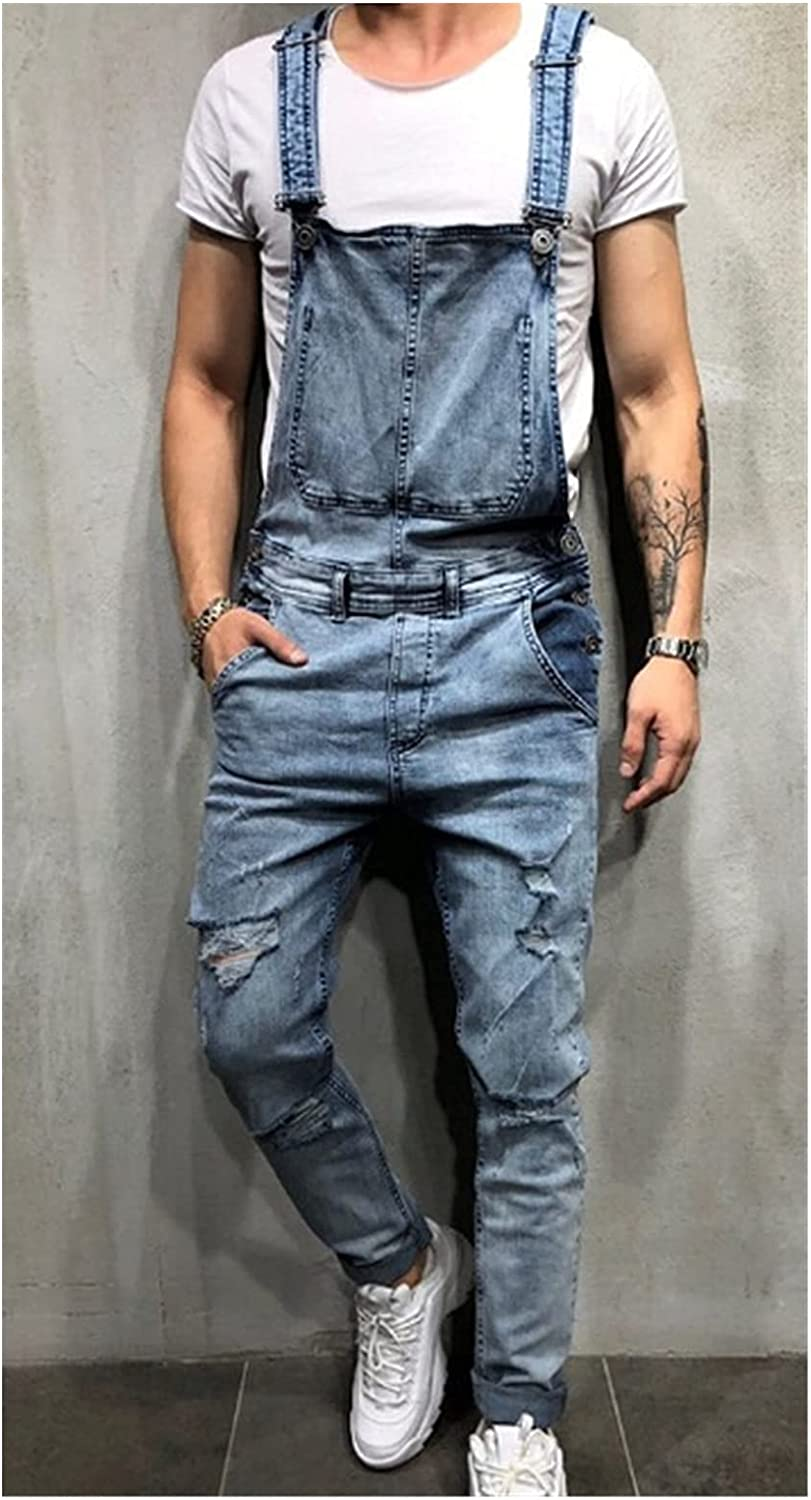 YIBOZY Fashion Men's Ripped Jeans Max 47% OFF Hi Jumpsuits Street Distressed Mail order
