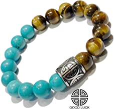 GOOD FORTUNE Turquoise | Tigers Eye | Chinese Symbol PROSPERITY | LUCKY Beaded Meditation Bracelets | Spiritual Stretch Mantra Reiki Healing Energy BoHo Chakra Wrap Yoga Jewelry & Gemstone Gifts