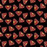 Fat Quarter Superman-Logo auf schwarzem DC Comics 100%