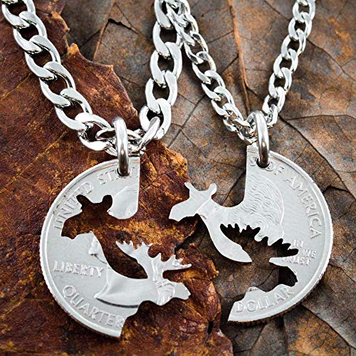Moose Couples necklaces, His and Her matching Jewelry, Hand cut coin, Elknecklace, hunting necklace, hunting couples, By NameCoins