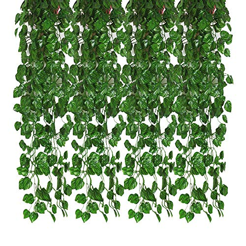 Kalolary 84 Ft 12 Strands Artificial Ivy Garland Leaf Vines Plants Greenery, Hanging Fake Plants, for Wedding Backdrop Arch Wall Jungle Party Table Office Decor (Watermelon Leaf Garlands)