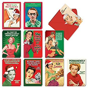 NobleWorks - 20 Funny Christmas Cards Assorted  10 Designs 2 Each  - Boxed Adult Christmas Greetings Bulk Holiday Notecard Humor - Naughty is Nice AC1255XSG-B2x10