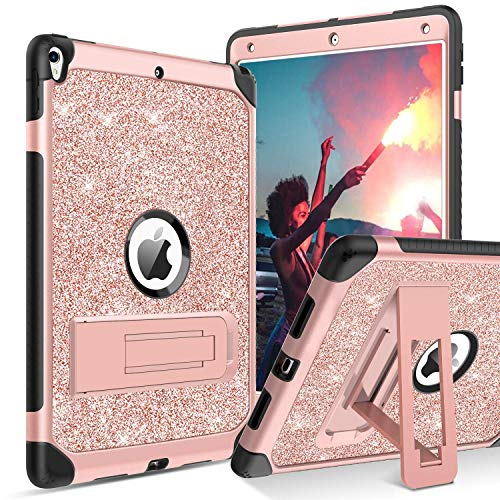 "BENTOBEN iPad Air (3rd Gen) 10.5"" 2019 Case, iPad Pro 10.5"" 2017 Case,Glitter Sparkly 3 Layers Heavy duty Shockproof Protective Hybrid Hard PC TPU Bumper Kickstand Kids iPad Air 3 Gen Cover, Rose Gold"