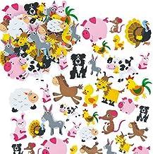 Baker Ross Pegatinas de Espuma Impresa con Forma de Animales de Granja (Paquete de 96) Para decorar tarjetas y manualidades infantiles