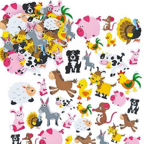 """Baker Ross Moosgummi-Aufkleber \""""Tiere auf dem Bauernhof\"""" für Kinder Karten und Bastelprojekten (96 Stück)"""