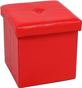 Boîtes de rangement ottomane, Repose-pieds en similicuir, Rouge, 30x30x30cm