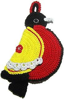 Agarradera roja y amarilla en forma de pájaro de ganchillo - Tamaño: 11 cm x 24.5 cm H - Handmade - ITALY