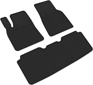 iallauto All Weather Floor Liners Custom Fit for Tesla Model S 2016 2017 2018 2019 Heavy Duty Rubber Car Mats Front and Rear Seat Vehicle Carpet-Full Black Odorless