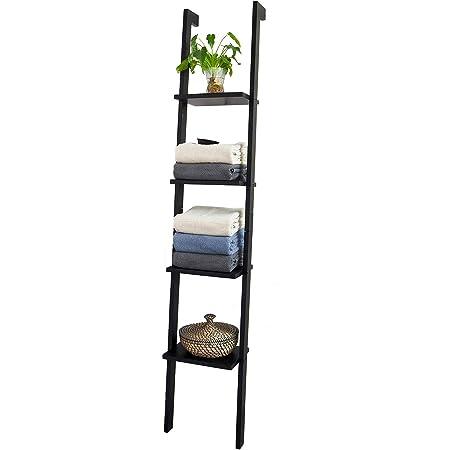 SoBuy® Moderna estantería escalonada, librería, estantería de Pared, Estanterías para CDs y DVDs, FRG15-SCH(4 estantes/Negro)