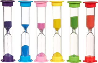 6-Pack of Sand Hourglass Timers - Plastic Hourglass Set with 30s, 1min, 2min, 3min, 5min, and 10min, Assorted Colors - 0.9 x 4 Inches