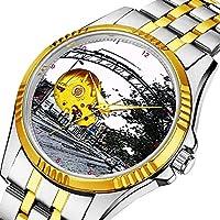 時計、機械式時計 メンズウォッチクラシックスタイルのメカニカルウォッチスケルトンステンレススチールタイムレスデザインメカニ (ゴールド)-309. シティストリートアーチデジタルインク描画