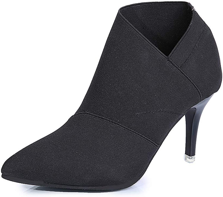 Damenstiefel, Warme Spitze Mode-Stiefeletten, Elastische Stiefel Mit Hohen Absätzen, Große, Rutschfeste Kurze Stiefel, Wasserdichte Hohe Schuhe    Auf Verkauf