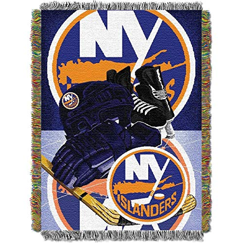 """The Northwest Company NHL New York Islanders """"Home Ice Advantage"""" Woven Tapestry Throw Blanket, 48"""" x 60"""" , Blue"""
