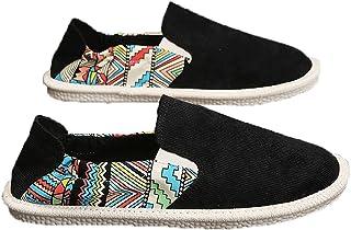 Espadrilles pour Hommes Graffiti Patchwork Slip-on Low-Top Casual Chaussures Portable Respirant Léger Chaussures en Toile ...