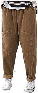 neveraway Women's Retro Corduroy Slit Pocket Elastic Drawstring Harem Pants