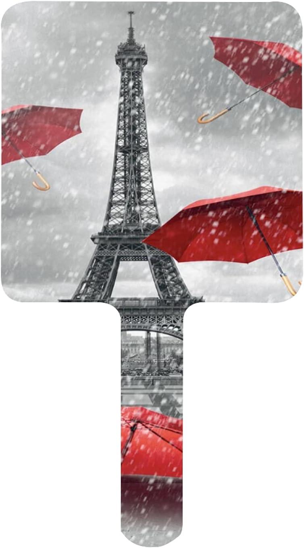 Hand Mirror Retro Cityscape Paris Tower with Popular National uniform free shipping overseas Red Umbrella Eiffel