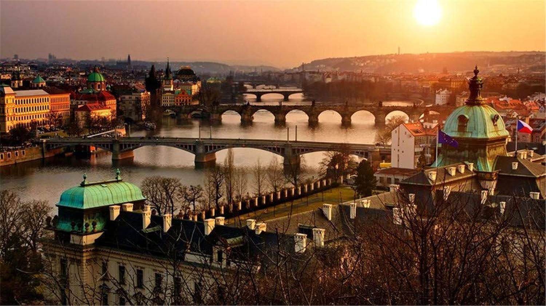 HCYEFG Stichsägen 1000 Teile DIY Art Prague Altstadt Blick Auf Sonnenuntergang Stadt Sonne Puzzle Für Erwachsene Erwachsene B07NDY86TJ Authentische Garantie  | Große Ausverkauf