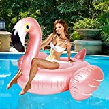 Giant Inflatable Flamingo Ride On Pool Float, Blow Up Pool Floatie with Fast Valves Swimming Floating Raft, Lounge, Summer Party Decorations Toys for Kids Adults