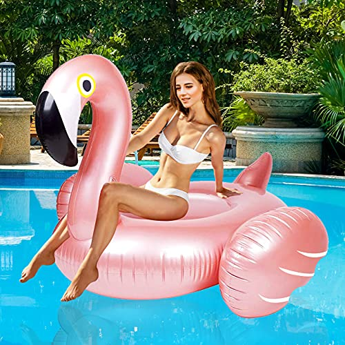 Giant Inflatable Flamingo Ride On Pool Float, Blow Up Pool Floatie with Fast...