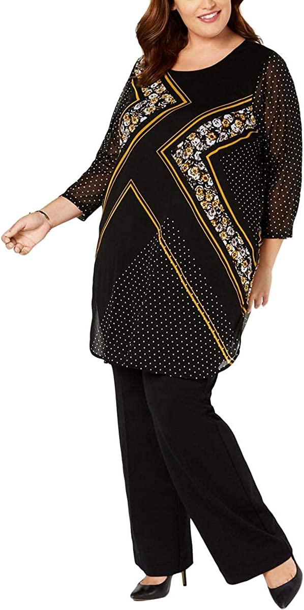 Alfani Womens Plus Printed Mesh Tunic Top