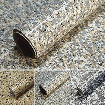 Timeet 17.7 x78.7  Granite Contact Paper for Countertops Waterproof Self Adhesive Film for Kitchen Counters Bathroom Counters Removable Gray Brown Granite Peel and Stick Decorative Vinyl