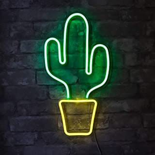 """Isaac Jacobs 19"""" x 10"""" inch LED Neon Green Cactus with Yellow Planter Wall Sign for Cool Light, Wall Art, Bedroom Decorations, Home Accessories, Party, and Holiday Décor: Powered by USB Wire (Cactus)"""