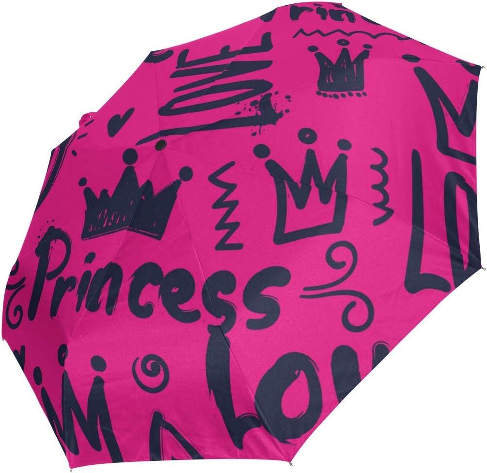Mini Folding Umbrella Graffiti Princess Crown Quantity limited Ranking TOP10 Wi Love Rosy Color