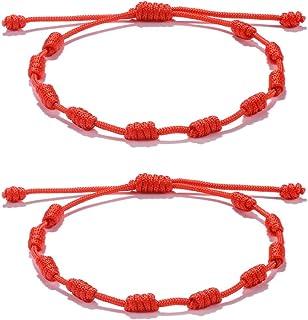 comprar comparacion VU100 2PCS Rojo NudosPulseras Amuleto Ajustable para El Éxito CabaláBuena SuertePulsera De Protección para Hombre...