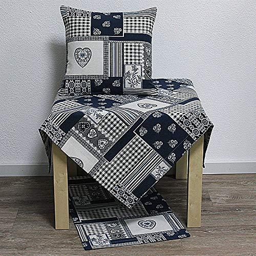 Hossner Tischläufer Taylor Herzen & Ornamente blau weiß 50x150cm