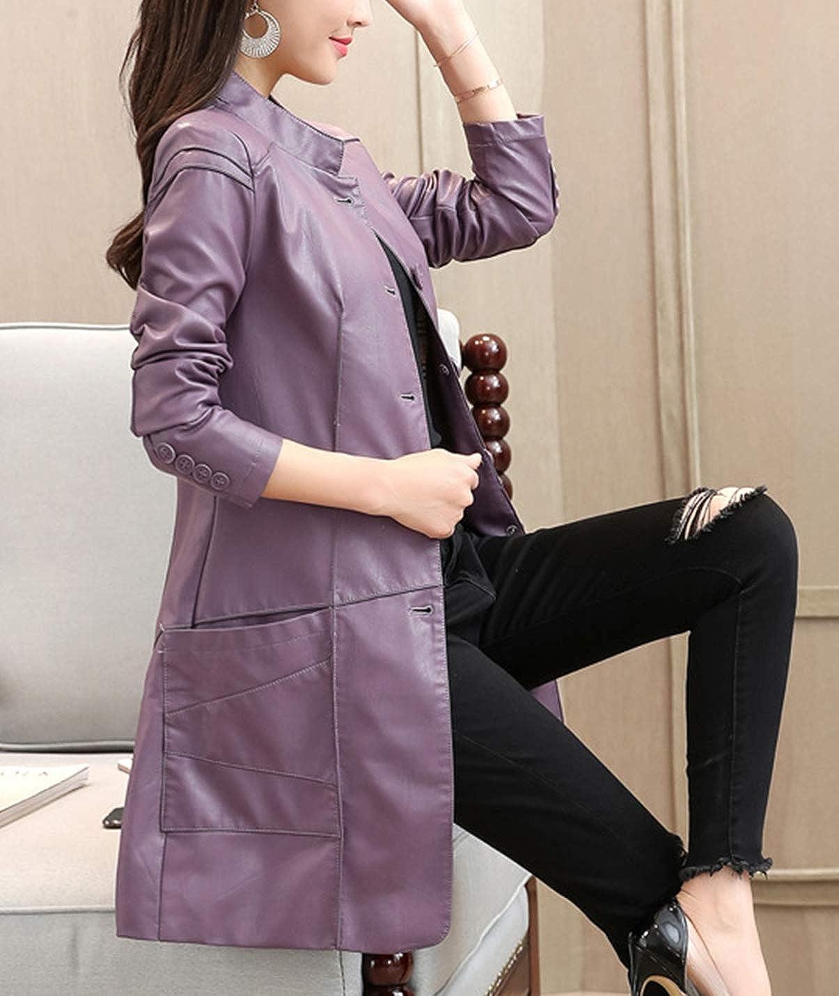 Women's Midi-Length Slim Fit PU Jackets Coat