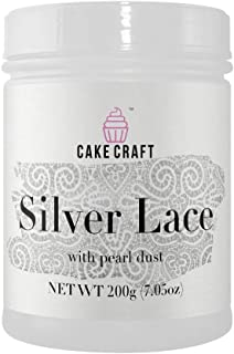 Cake Craft Silver Lace Cream With Pearl Dust 7.05 Ounces